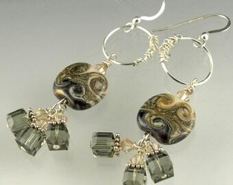 Sterling Silver Crystal Beaded Lampwork Glass Long Dangle Earrings in Ivory Silver Charcoal Grey