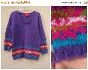 40% MOVING SALE Vintage mohair sweater / hippie wool pullover / boho oversized slouchy festival sweater / large