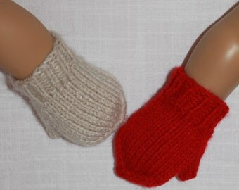 2 pairs hand knit doll mittens, 18 inch doll clothes, Upbeat Petites