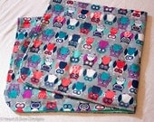 Soft Colorful Owl Baby Blanket- Double Layer Flannel Baby Blanket- Baby/Toddler Blanket- Recieving Blanket