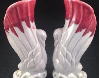 Gray & Burgundy Swan Pottery HULL Flower Vases
