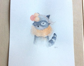 Little pompom  raccoon Original Watercolor, watercolor painting, 5x7 inches