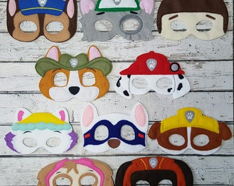 Puppy Patrol Masks Set * Ryder * Marshal * Rubble * Skye * Tracker * Birthday Party Favors * Gift * Playtime * Halloween * Dressup