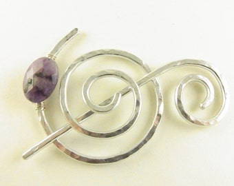 Hammered Shawl Pin Spiral with Genuine Amethyst