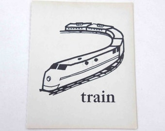 Vintage Children's Ivory School Flash Card with Picture and Word for Train
