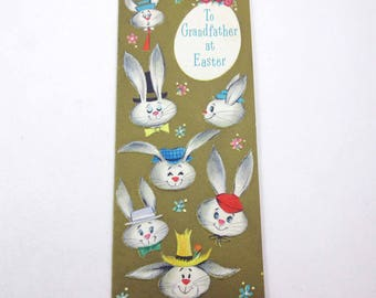 Vintage 1940s or 1950s Hallmark Slim Jims Easter Greeting Card with Cute Rabbit Faces