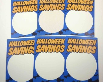 Vintage Blue Orange and White Halloween Savings Store Pricing Tags Set of 6
