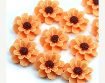 50% Off Sale Flower Cabochons Plastic Chrysanthemum 18mm Peach (6) PC375