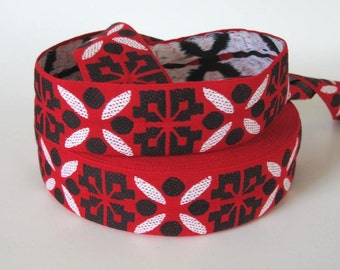 2 yards ICELANDIC Jacquard trim in white, black on red. 1 7/8 inch wide. 2044-A