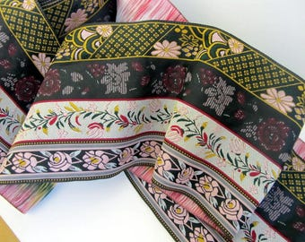 """MUCHA  Floral Composite Jacquard trim in Pink, Navy Blue, Ivory, Grey, Green. 3 7/8"""" wide #5300-A"""