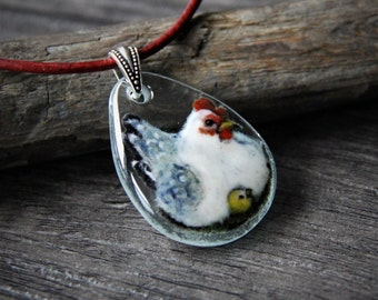 Mother hen and chick necklace - fused glass pendant,