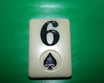 Vintage Rummy Game Piece 6 of Spades, Heart, Game Chip, Resin, Jewelry Supplies, Craft, Mixed Media, Number 6 Six, SPADE