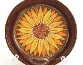 Wheel Thrown Stoneware Pottery Spoon Rest OOAK Yellow Brown Sunflower #279