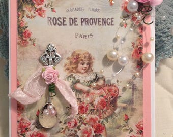 Beautiful Victorian Handmade Thank You Greeting Card, Hand Vintage Style Calling Card,