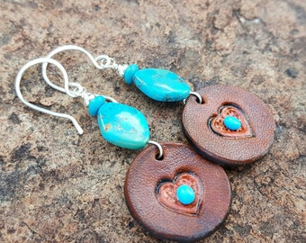 Brown Leather Heart Earrings - Hand Tooled - Turquoise - Sterling Silver - Western Jewelry by Heart of a Cowgirl