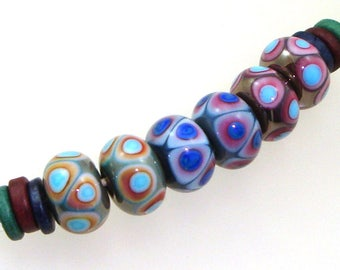 Handmade Lampwork Glass Beads - 3 pairs. Dot reactions on copper green, denim blue, red copper green. Stacked dots, earring pairs.