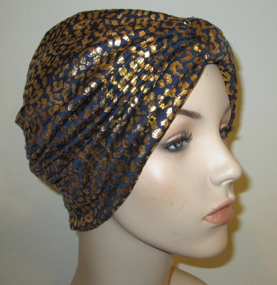 Navy Gold Stretch Turban, Chemo Hat, Snood,  Alopecia Yoga Cancer