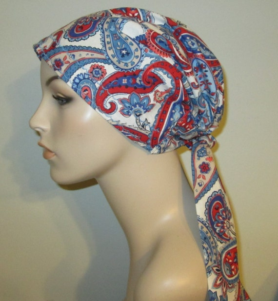 Red White Blue Paisley  Chemo Hat, Cancer Scarf, Surgical Scrub Hat, Turban, Hair Loss Free Ship USA