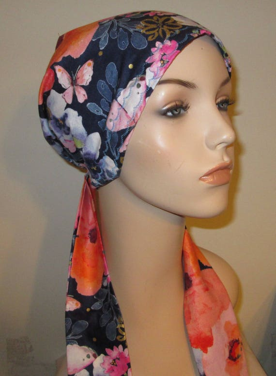 Blue and Gold Floral Mix  Chemo Scarf, Hat, Cancer Hat, Hijab, Alopecia MADE in USA{