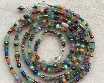 Beautiful Long Gemstone Necklace or Wrap Bracelet 33plus Inches