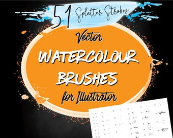 Watercolour Vector Illustrator Brushes - Splatter Brushes with Art & Scatter Brushes