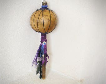 gourd rattle >> HEAR ME << tribal primitive Shaman rattle, Native American style rattle, ceremonial tool, Amethyst Tourmaline, wicca pagan
