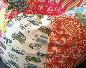 NEW Surfer Girl multi print bean bag with VW buses and camper print, floral beach and peace symbols Unfilled Cover & Liner