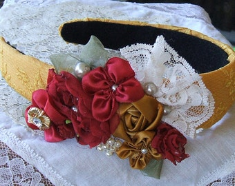 Victorian, Headband,Padded, Handmade,Flower Girl, Party Dress, Victorian Roses, Elegant, Gold, Special Occaision,Headpiece