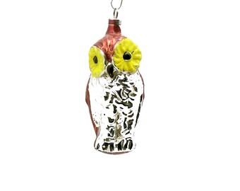 Vintage Christmas Ornament Glass Owl Ornament