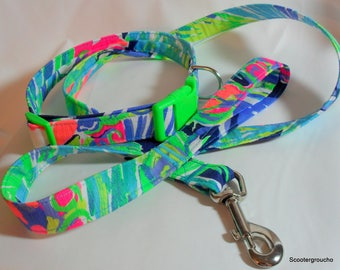Handcrafted Lilly Pulitzer Fabric Dog Collar & Leash Set- Multi Purrfect Print 2017- Made USA