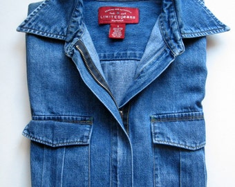 Vintage Denim Shirt with Zipper - Blue Denim, Zip Front, LimitedJeans, Pockets, Western, Women's Denim Shirt, 1980's