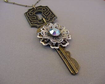 Upcycle vintage keyhole and key necklace with Filigree rhinestone earring Whimsical key necklace and keyhole necklace Steampunk Chic