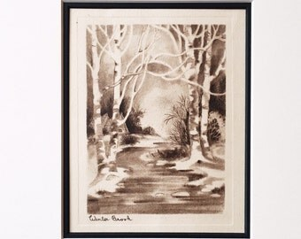 Winter landscape copperplate Engraving - original, vintage art