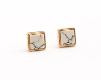 Cream White Imitation Marble Square Earring Post Finding  (EX202B)