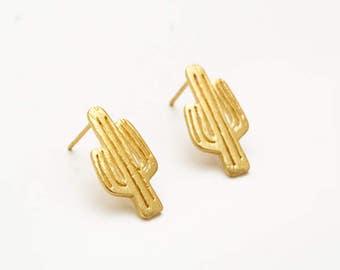 Cactus Golden Stud Earring Post Finding (ET069A)
