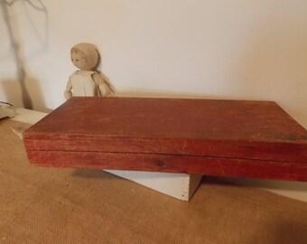 Vintage Red Wood Box Gilbert Storage Display Old Toy Storage Office Desk Decor Craft Supplies Primitive