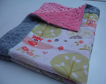 Woodland Babies Minky Security Blanket  22 x 32 READY TO SHIP On Sale