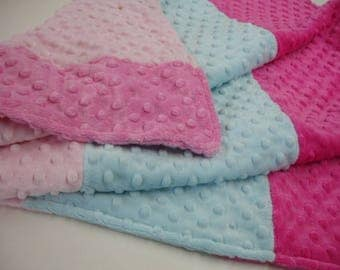 Pink and Aqua Double Sided Minky Blanket 27 x 32 READY TO SHIP