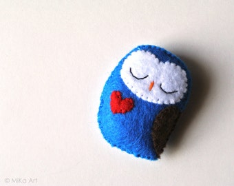 Owl Brooch Felt Owl Pin Owl Woodland Animal Fashion Accessory Handmade Stuffed Animal Felt Owl Brooch Kids Jewelry Cute Owl Accessory