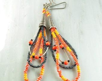 Sterling cone earrings | seed bead earrings | bead earrings