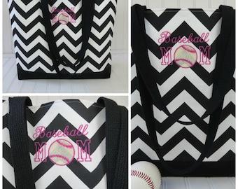 Baseball Bag - Baseball Mom - Chevron Tote- Baseball Tote - Baseball Tote Bag - Baseball Monogram- Monogram Baseball Tote- Baseballbag