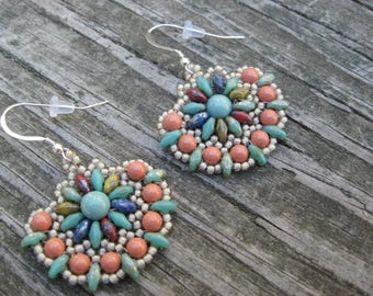 Multi- colored Boho Fan Earrings