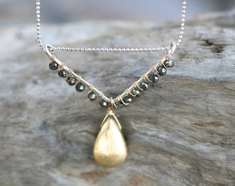 Pyrite Gemstone Wire Wrapped Triangle Pendant Necklace, 14KT Gold Filled Necklace, Mixed Metal Sterling Silver and Gold Filled Jewelry