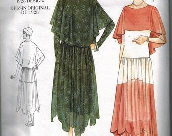 1928 Vogue 2535 Vintage Model Sewing Pattern OOP Flapper Drop waist Dress Gown Size 6-8-10 Slip