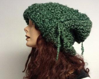 Handmade Hand knit Raw Big Head Slouchy Evergreen XL Knit Hat
