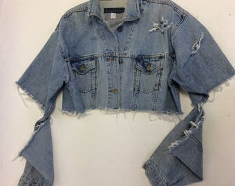 Raw Destroyed Tattered  fitted denim jacket XXL