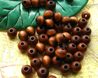 8mm Brown Wooden Beads Matte Finish - 70 Pieces - Round Medium Brown Wood Beads A Grade Specialty (WBD0137)