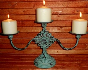 Beautiful Rustic Distressed Chippy Paint Antique Style Candleabra with Hand Applied Swarovski Crystals,Rustic Candle Holder