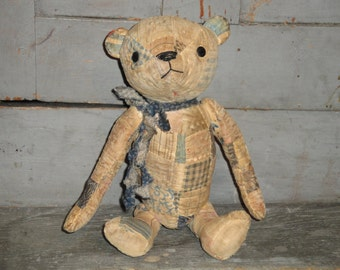 Old Quilt Bear | Vintage Quilt Bear | Antique Quilt Bear |  Jointed 11 Inch Bear |  HANDSEWN Bear