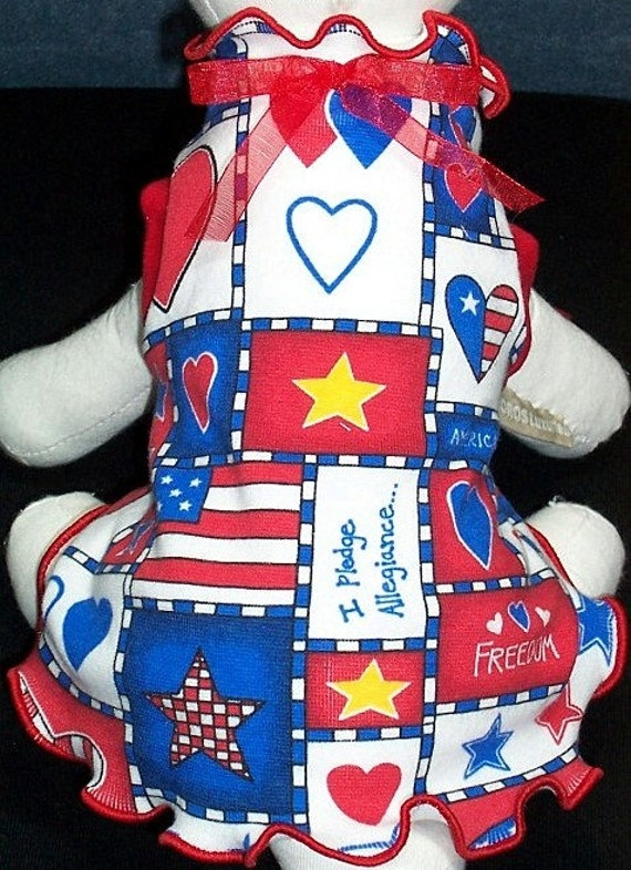 Reserved for Sina, Loki and Zeus Dog Dress and Shirts Patriotic Charm in Red White and Blue
